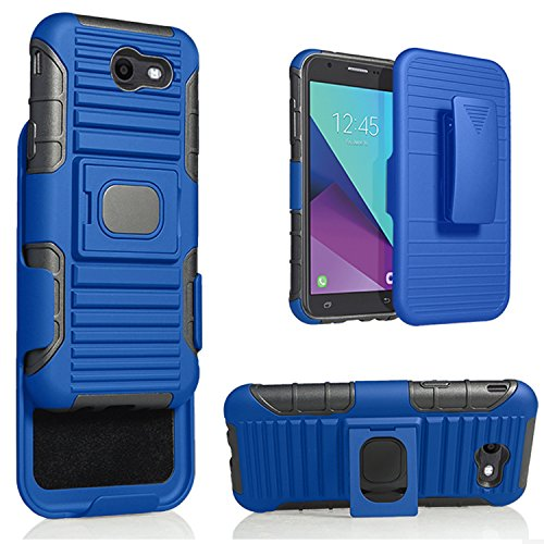 Cover Samsung Magnet - Galaxy J7 Prime Case Bundle With Tempered Glass Protector, Starshop W/ Built-In Magnet And Ring Holder Phone Cover For Samsung Galaxy J7 Sky Pro/Galaxy J7 Perx/Galaxy J7 v/Galaxy Halo/ J7 2017-Blue
