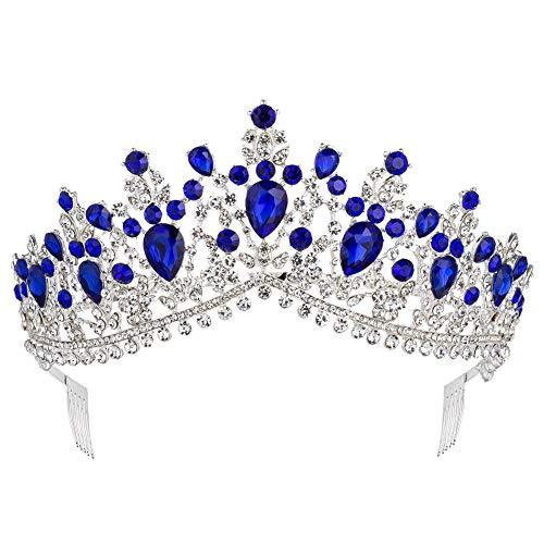 Royal Rhinestone Crystal Queen Tiara Headband Wedding Pageant Birthday Party Crowns Princess Headpieces for Women Girls (Silver Blue) -