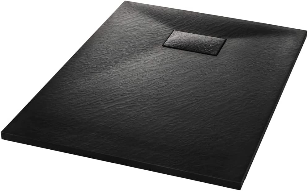 Receveur de Douche 90 x 90 cm SMC Noir pour Salle de Bain Tidyard Bac de Douche