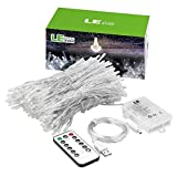 LE LED Window Curtain Lights, 300 LED, 9.84ft x 9.84ft, 8 Modes, USB & Battery Powered String Fairy Light with Remote Control, Daylight White, String Light for Christmas/Halloween/Wedding/Party