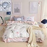 BuLuTu 100% Cotton Elephant Girls Bedding Duvet Cover Sets Twin White/Pink 3 Pieces Kids Bedding Sets Zipper Closure With 4 Corner Strings,1 Duvet Cover and 2 Pillowcases,68