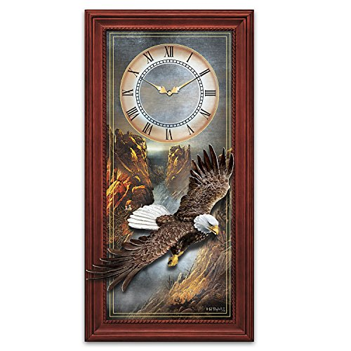 Ted Blaylock Brushed Metal and Sculpted Bald Eagle Wall Clock by The Bradford Exchange Ted Blaylock Eagle