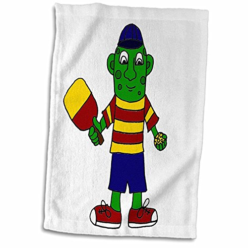 """3D Rose Funny Pickle in Colorful T Shirt Holding Pickleball Paddle TWL_203783_1 Towel, 15"""" x 22"""", Multicolor"""