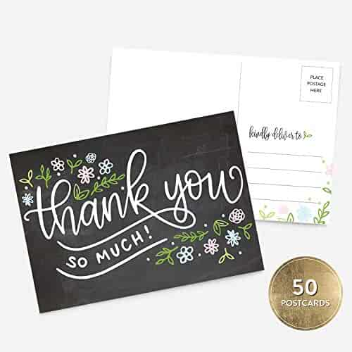 50 4x6 Handlettered Thank You Postcards Bulk Set, Chalkboard Floral Thank You, Boy or Girl Baby Shower, Bridal Shower, Thank You NoteCard Stationery, Blank Thank You Note Card