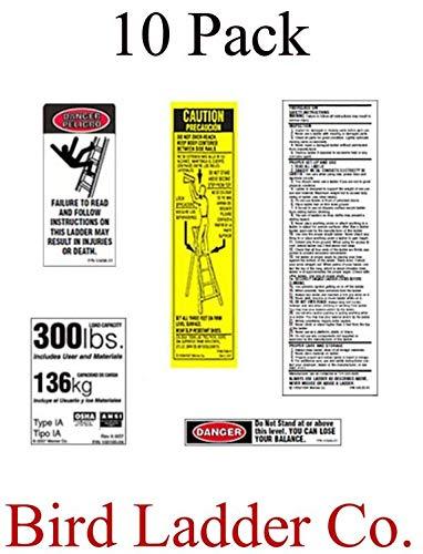 (10 Pack) Werner 300 LB Fiberglass Step Ladder Replacement Label Kit