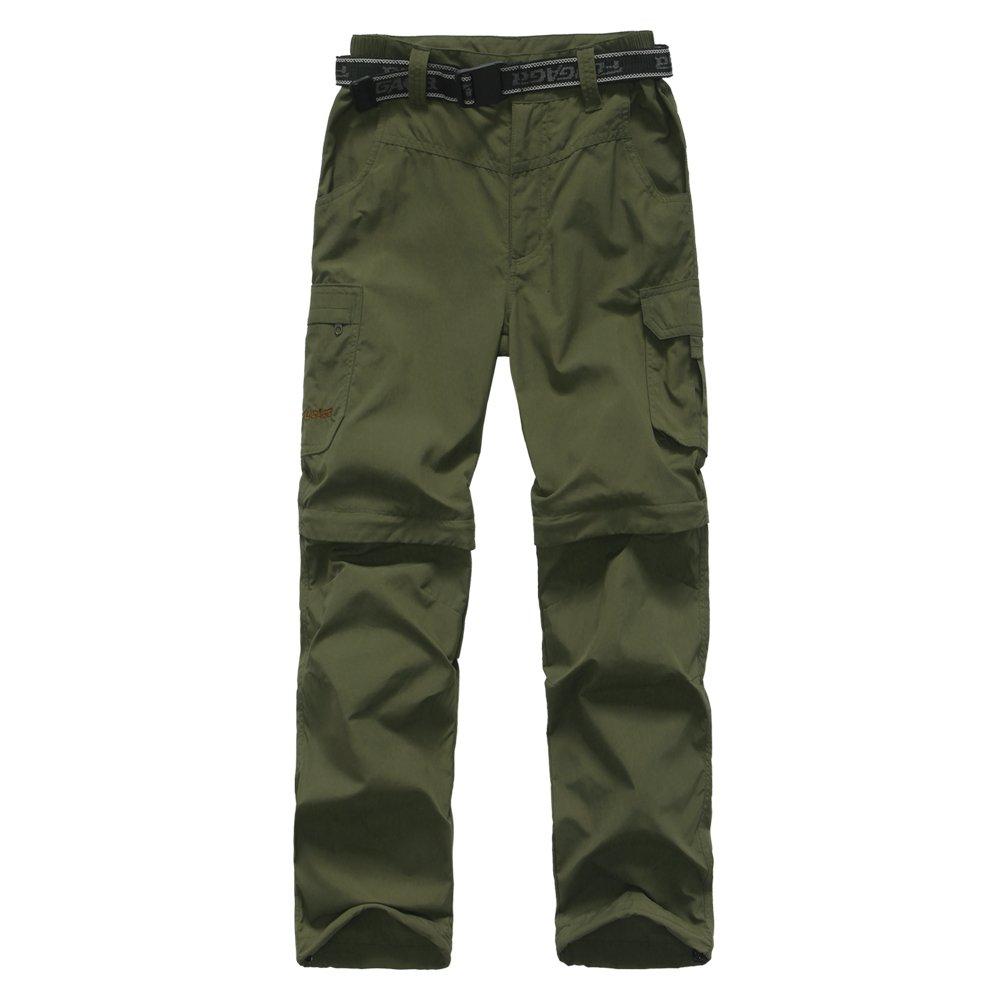 FLYGAGA Boy's Quick Dry Outdoor Convertible Trail Pants Army Green S by FLYGAGA