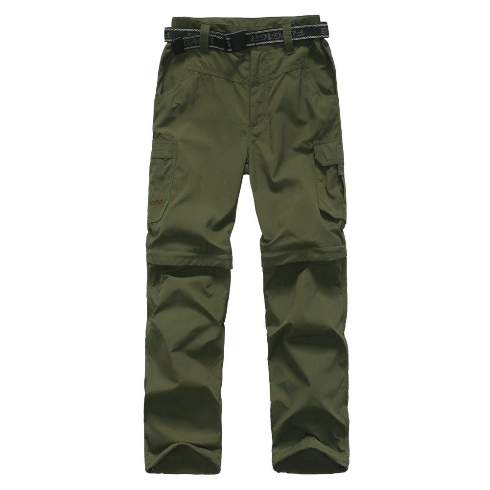 FLYGAGA Boy's Quick Dry Outdoor Convertible Trail Pants Army Green XL