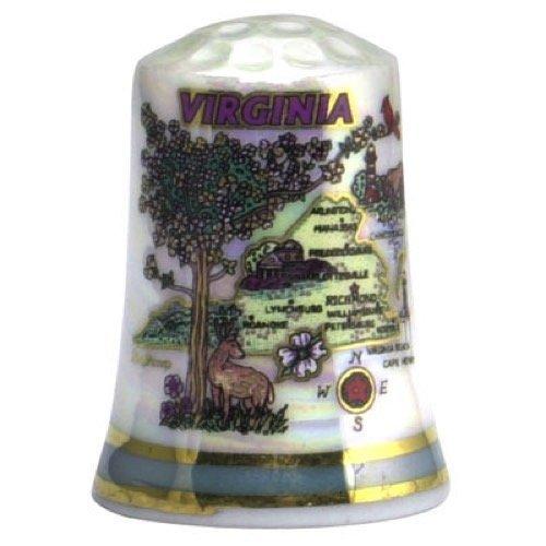 Virginia State Map Pearl Souvenir Collectible Thimble agc Souvenir Destiny vamappearlthimble