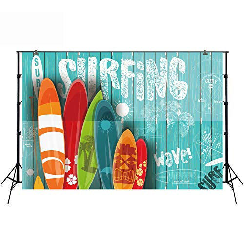 Backdrop for Baby Pictures Summer Themed Photography Background for Kids Birthday Party Photobooth Event Table Decoration Shower Props Surfing Surfboard Sunshine Wood Hawaiian Themed Props FT-6264 -