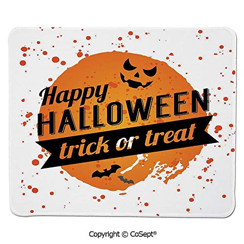 Gaming Mouse Pad,Happy Halloween Trick or Treat Watercolor Stains Drops Pumpkin Face Bats,for Laptop,Computer & PC (11.81