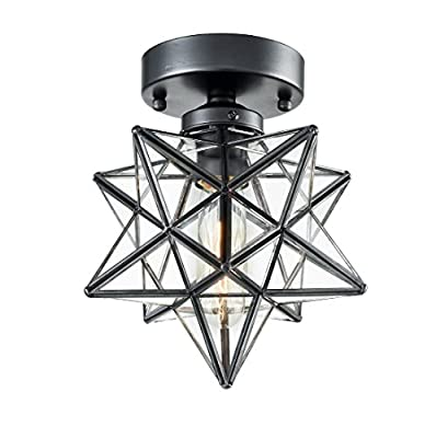 AXILAND Flush Mount Ceiling Light with Seeded Glass Shade