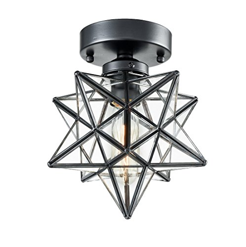 AXILAND Industrial Moravian Star Ceiling Light with 8-inch Glass Shade, 1 Light ()