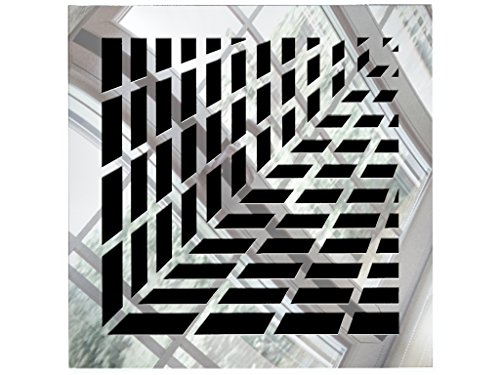 SABA Register Cover Air Vent - Acrylic Fiberglass Grille 10'' x 10'' Duct Opening (12'' x 12'' Overall) Silver Mirror Finish Decorative Cover for Walls and Ceilings, not for Floor use, Vivian by SABA Home Decor