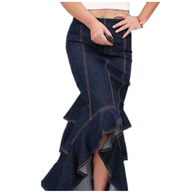Aidonger Falda para mujer denim azul oscuro
