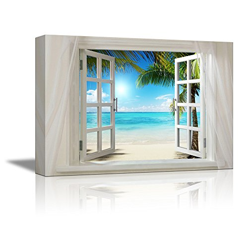 71edaa4510c Glimpse into Sunshine and White Beach Out of Open Window Stretched. Canvas  Art