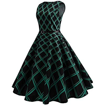 OWMEOT Women Vintage Traditional African Dress O-Neck Sleeveless Party Dress