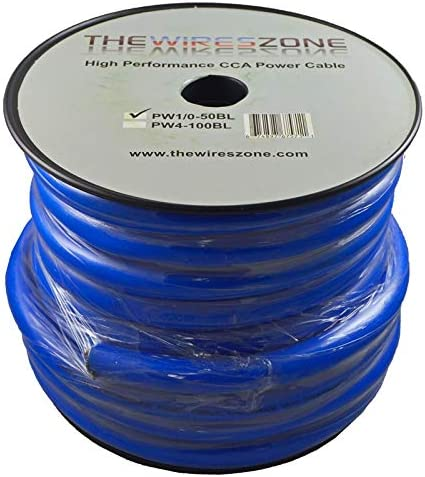Blue 0 Gauge 50 Feet Wire 1//0 AWG High Performance Flexible Amp Power Ground Cable