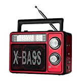 Lysignal Classic AM FM SW Multiband Radio Portable Speaker Support USB SD TF Card with Emergency LED Flashlight (Red)