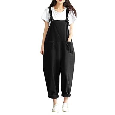 Ningsun Da Donna Sciolto Tuta Cinghia Pantaloni con Pettorina I Pantaloni Pantaloni da Allenamento Casual Donna Salopette Lunga Elegante Cotone Moda Tasche Ufficio