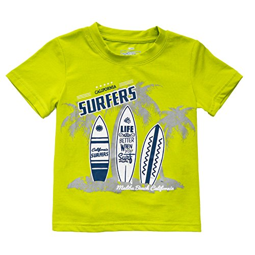 KISBINI Toddlers Boys California Surfers Short T Shirt Tops Soft Green Tee