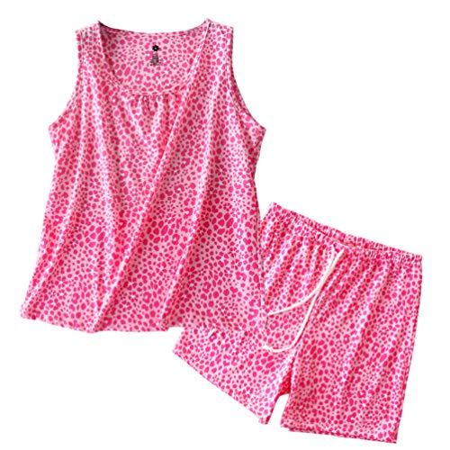 ENJOYNIGHT Women's Cute Sleeveless Print Tee and Shorts Sleepwear Tank Top Pajama Set (X-Large, Pink Leopard) ()