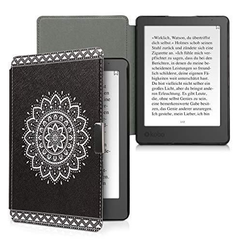 kwmobile Case Compatible with Kobo Aura Edition 2 - PU e-Reader Cover - Aztec Sunflower White/Black
