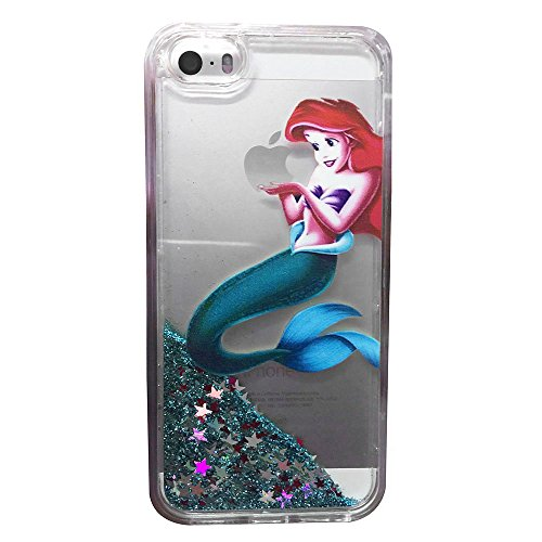 Ariel Iphone Case - For iPhone 5S/5E Case, Flowing Liquid Glitter Stars Case,[ Anti-dropping shockproof ] Brilliant Luxury Glitter Liquid Floating Protective case,Bling Bling Little Mermaid Ariel Holding Logo Apple