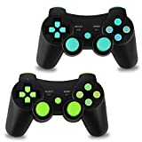 2pcs Pack Wireless Double Vibration Controller for PS3 Bluetooth Sixaxis Gamepad Remote for Playstation 3, Without Retail Package