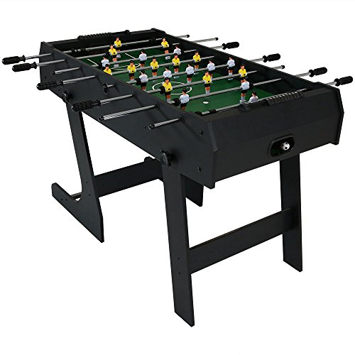 An all-black, folding foosball table with a matte finish.
