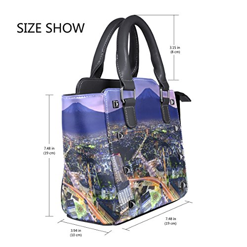 Women Crossbody Fuji Shoulder Yokohama City Single Bags LIANCHENYI Tote Leather PU Handbags Mt Messenger Bag Top Flourishing For And Handle wwqBY76pHx