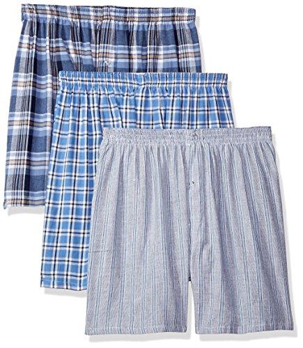 Munsingwear Men's 3 Pack Cotton Woven Assorted Boxers, Blue, Medium