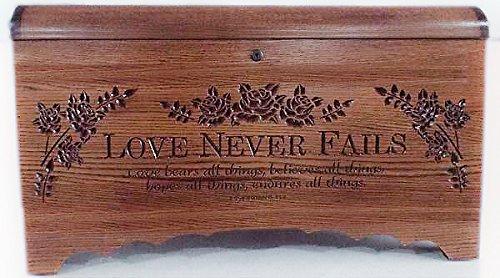 Amish Blanket Chest - Allamishfurniture BLANKET STORAGE HOPE CHEST Oak Carved Love Never Fails Amish