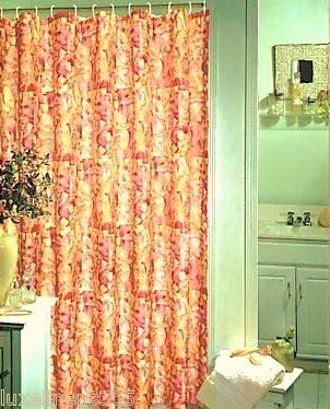 Pop Bath Picasso Abstract Floral Fabric Shower Curtain Gold