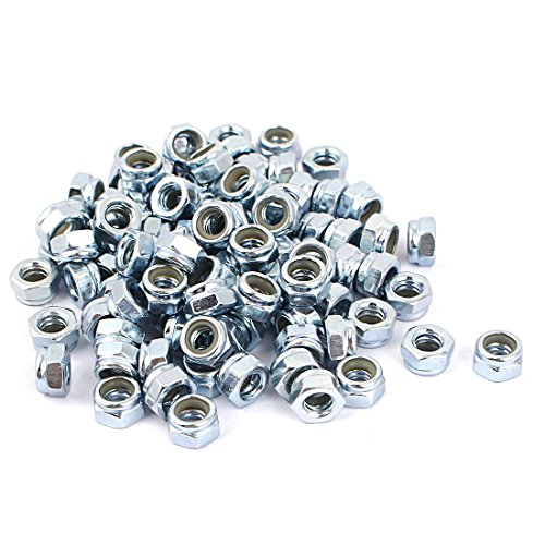 """Uxcell a16033100ux0314 3/16""""-24 Zinc Plated Self-Locking Nylon Insert Hex Lock Nut (Pack of 100)"""