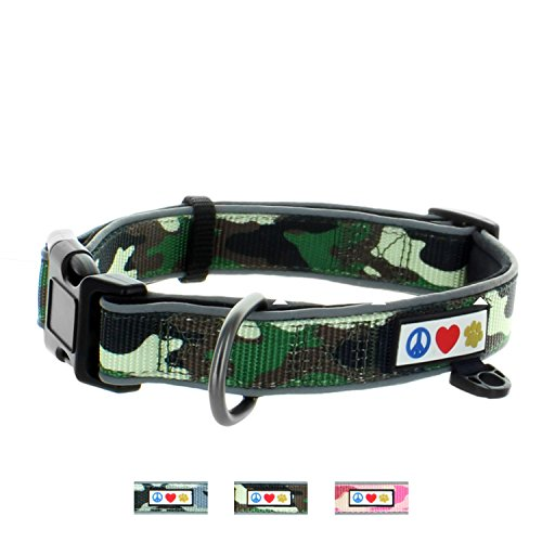 Pawtitas Camouflage Dog Collar Padded Dog Collar Reflective Dog Collar Puppy Collar Training Dog Collar Neoprene Collar Extra Small Dog Collar Camo Green Dog (Extra Small Green Camo)