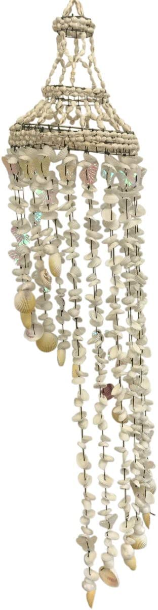 Bamboo Source Tropical Decor Butterfly Stairway Shell Wind Chime 35 Inches x 6 Inches (Natural)