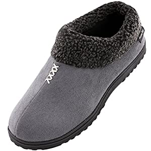 Men's Cozy Memory Foam Slippers Fluffy Micro Suede Faux Fur Fleece Lined House Shoes with Non Skid Indoor Outdoor Sole