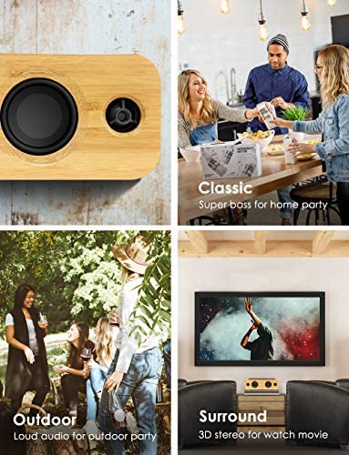 AOMAIS Life Bluetooth Speakers, 30W Loud Home Party Wireless Speaker, 2 Woofer & 2 Tweeters for Super Bass Stereo Sound, 100 Ft Bluetooth V5.0 and 12-Hour Playtime Subwoofer – Imitation Bamboo Panel 518QuGKiyFL