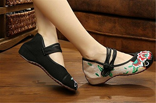 Chaussures Florales Chinoises Brodées Vintage Femme SHUANGKOU Ballerines Mary Jane Ballerine Flat Ballet Cotton Loafer Noir