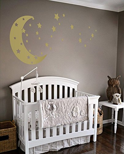 (Moon and Stars Night Sky Vinyl Wall Art Decal Sticker Design for Nursery Room DIY Mural Decoration (Gold, 22x49 inches))