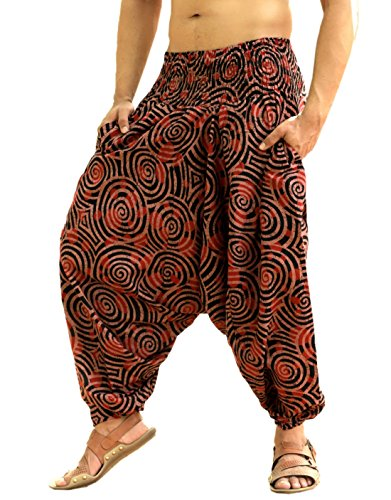 Sarjana Handicrafts Men Women Cotton Harem Pants Pockets Yoga Trousers Hippie (Brown) -