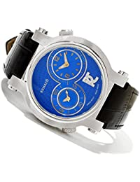 DUL.BL Limited Edition Women's Blue Dual Time Swiss Quartz Diamond Accented Leather Strap Watch