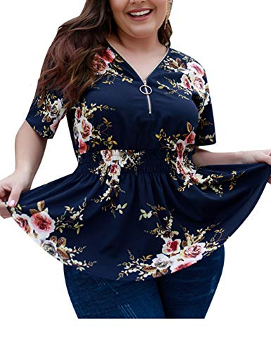 (EverChic Women's Summer Plus Size Deep V Neck Pleated Half Sleeve Ruched Promenade Tops (Navy Floral,)