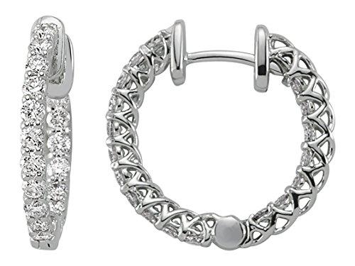 Birgie Diamants et Bijoux -Boucles d'Oreilles Anneaux Diamants-Femme- or Blanc 204E0058
