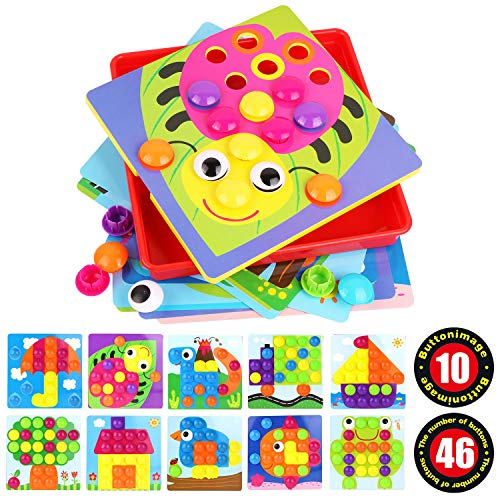 Umitive Color Button Art Mosaic Pegboard Toy Set,3D Matching Puzzle Games for Toddlers,Early Learning Educational Toy (Alex Games)
