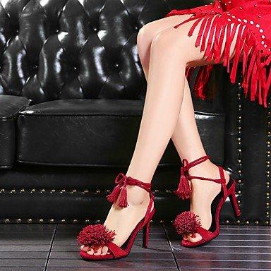 LvYuan Mujer Sandalias Cuero Primavera Verano Tacón Stiletto Negro Rojo Azul 10 - 12 cms ruby