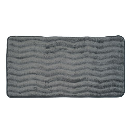 - Bedford Home Microfiber Memory Foam Bathmat - Oversized Padded Nonslip Accent Rug for Bathroom, Kitchen, Laundry Room, Wave Pattern (Platinum)