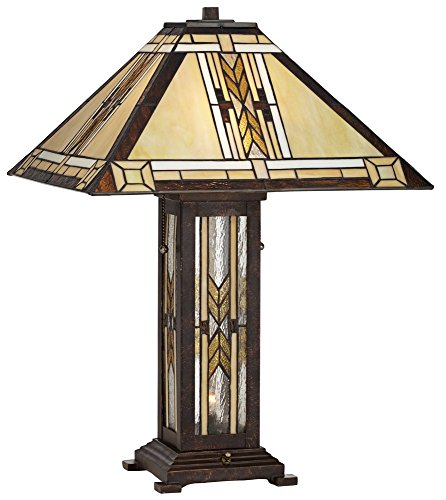 Drake Mission Collection Tiffany Style Nightlight Table Lamp - Mission Night Light Table Lamp