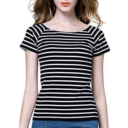 - Striped Shirt Women Stripes Tee Short Sleeve Boat Neck Tops for Women Black XL