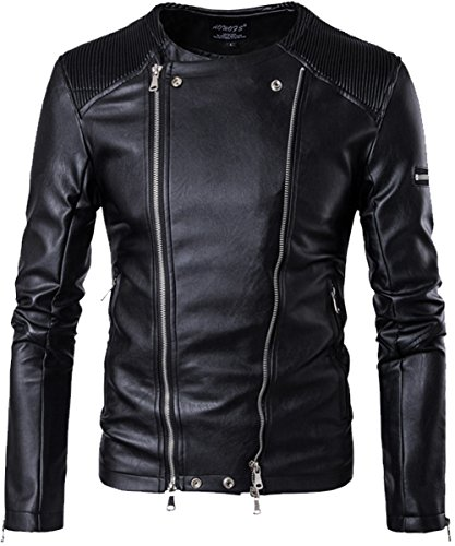 Aishang Men's Black Punk Leather Jacket Collarless Double Zipper Balmain - Men Balmain